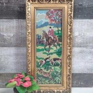 Vintage equine handmade tapestry in gold frame